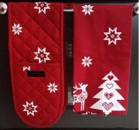 bertha oven glove and tracy tea towel christmas red