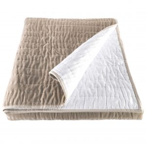 Hand Quilted Taupe Velvet Bedspread