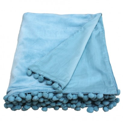 DuckEgg blue velvet throw