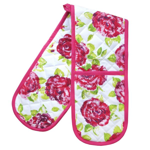 Bertha Double Oven Mitt White Pink Rose