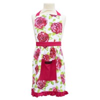 Pink and White Vintage Frilly Apron with floral print for girls from Ragged Rose