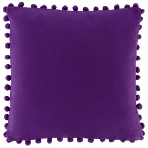 Purple Scatter Cushion With Pom Pom Trim