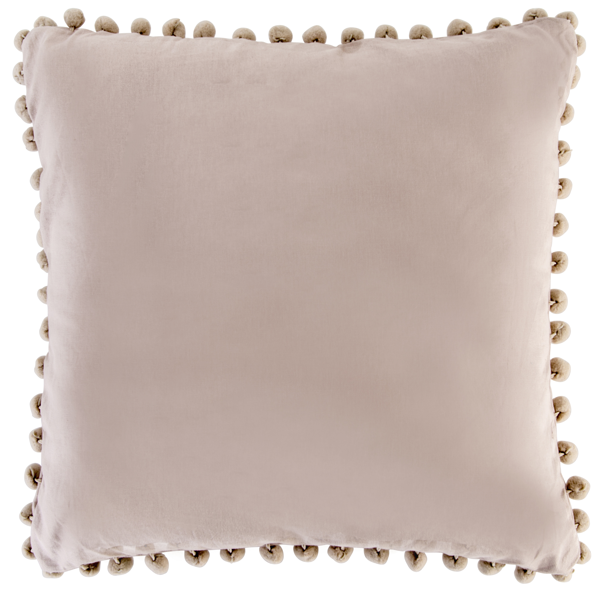 Bobby taupe cushion with pom pom trim