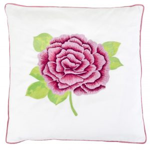 Ella Cushion White with Pink Rose