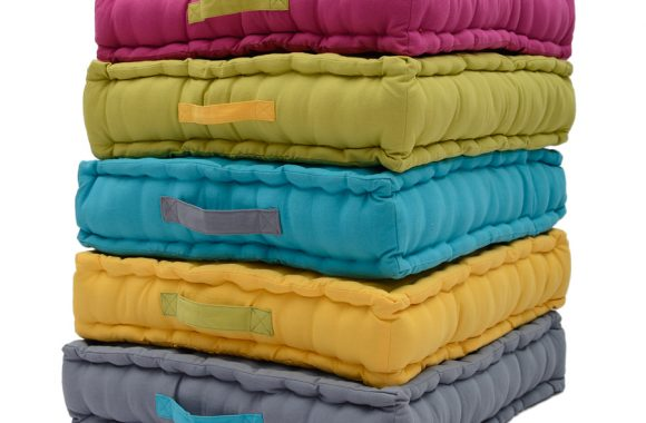 pile of box cushions in assorted colours