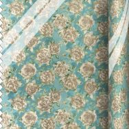 PVC Large Ragged Rose Print Duck Egg Blue Fabric