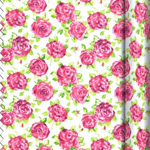 White and pink rose Fabric