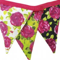 Bunting Pink Black and Green Floral Fabric Print