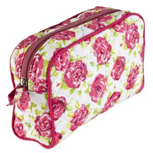 Molly Make up Bag Pink White Rose
