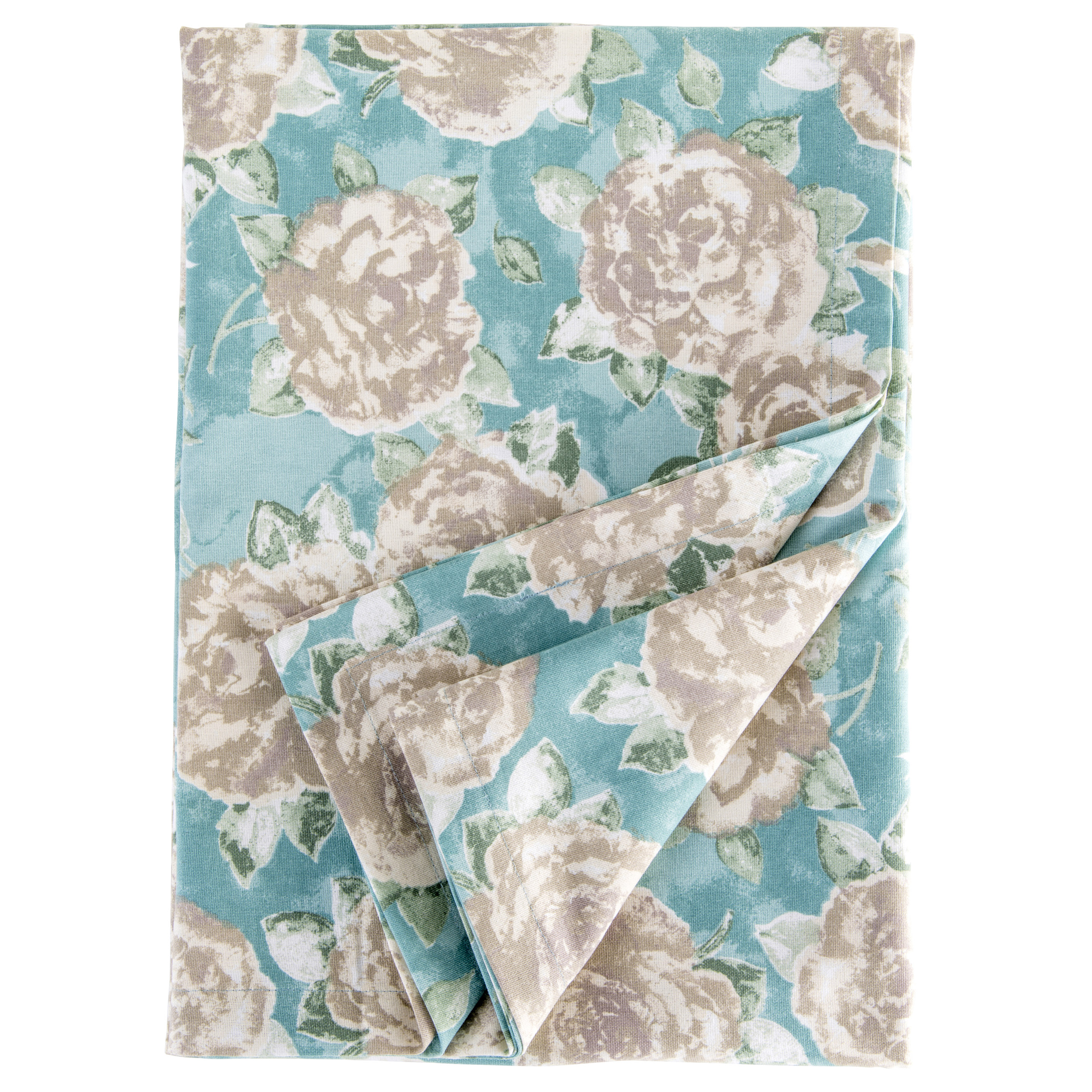 Tessa Tablecloth Duck Egg Blue Rose