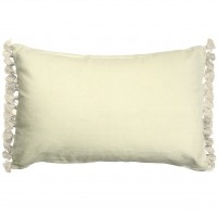 Terry Tassel Ivory Velvet Cushion