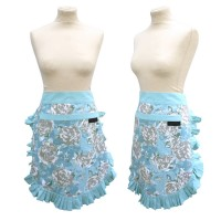 Duck egg blue half vintage Apron with floral print from Ragged Rose