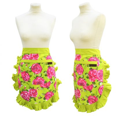 Lime green and pink half vintage Apron with floral print from Ragged Rose
