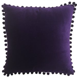 Arabella Purple Velvet Pom Pom CushionArabella Purple Velvet Pom Pom Cushion