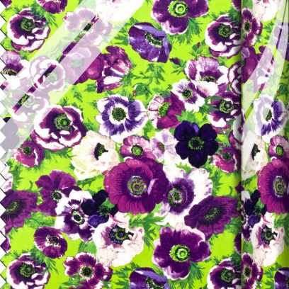 PVC Large Ragged Rose print purple and green