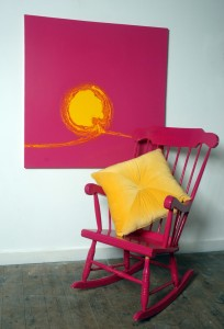 Gold fiona cushion on pink chair
