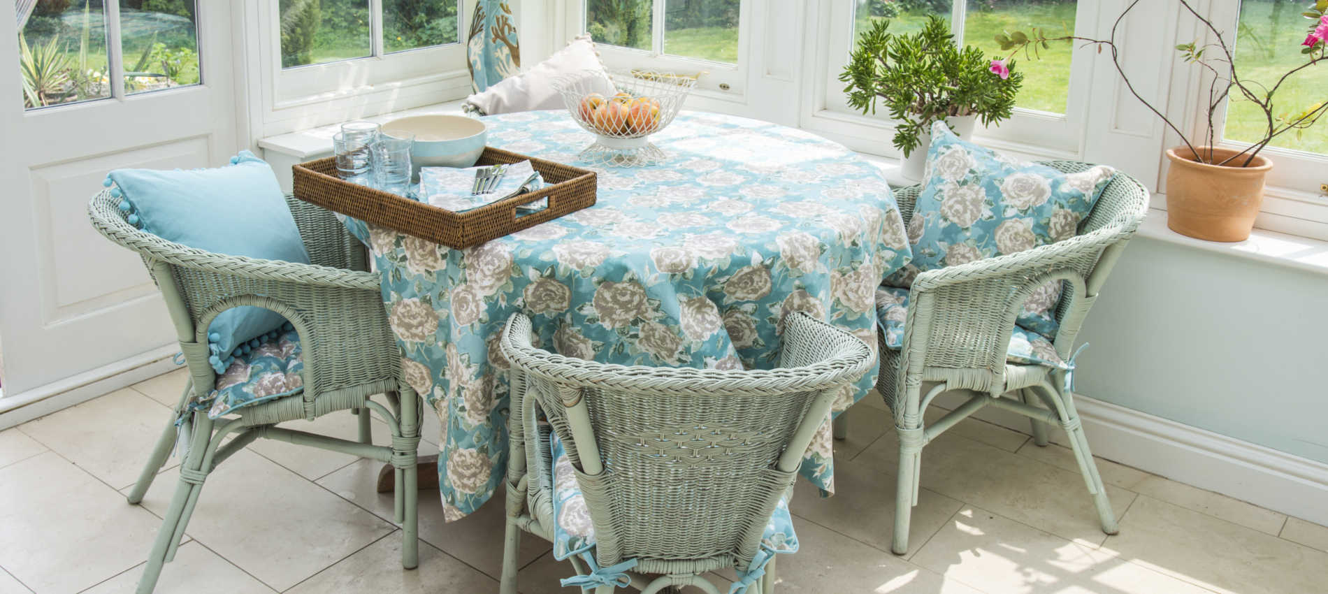 duckegg table set ragged rose