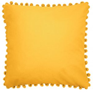 Bobby Summer Gold Cushion with Pom Pom Trim