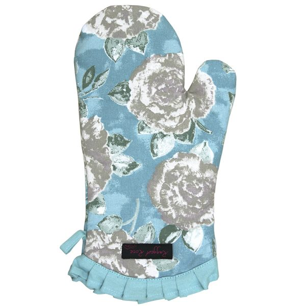 Fliss Frilly Oven Glove Duck Egg Blue Rose
