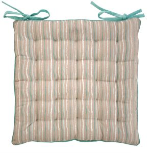 Duck Egg Blue Stripe Seat Pad Cushion