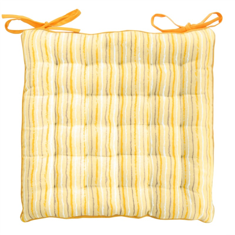 Golden striped chair cushions