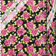 PVC Large Ragged Rose Rose Rose Print - Black