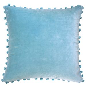 Duck Egg Blue Velvet Pom Pom Cushion