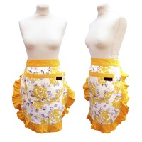 Gold/Yellow half vintage Apron with floral print from Ragged Rose