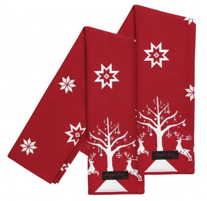 red christmas tea towels