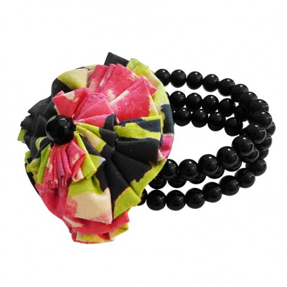 Black Triple Strapped Beaded Bracelet