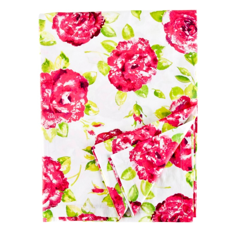 Tablecloth White Pink Rose