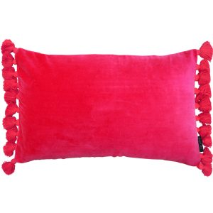 pink velvet fringe cushion