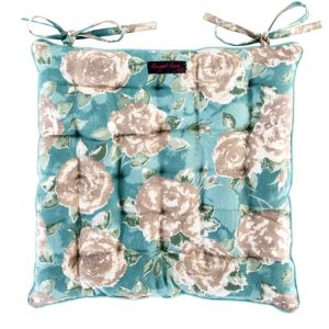 Duck Egg Blue Seat Pad Large Taupe Roses