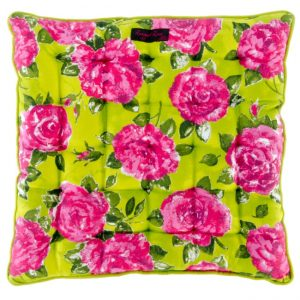 Lime Green Pink Rose Seat Pad