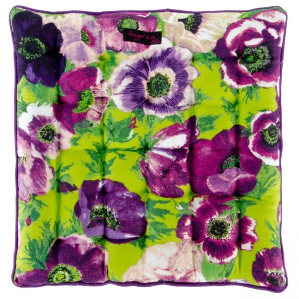 Purple Seat Pad with Anemones