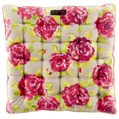 Taupe Seat Pad Large Pink Roses