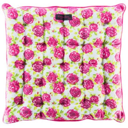 White Seat Pad Small Pink Roses