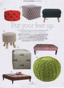 Aga Living April 2016 Lime Rose Velvet Pouffe Ragged Rose