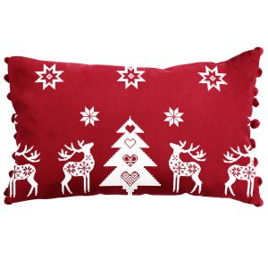 Red Christmas Star Oblong Cushion