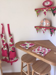 Ragged Rose napkins, bunting and children aprons
