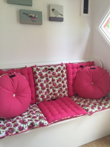 Ragged Rose pink and floral cushions