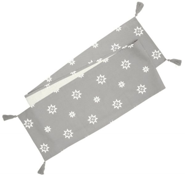 Christmas Silver Grey Festive Star Table Runner