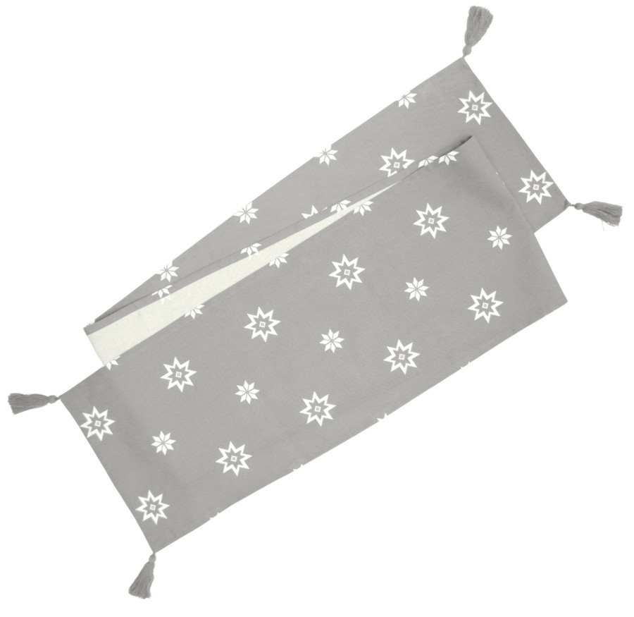 Silver Grey Festive Star Table Runner