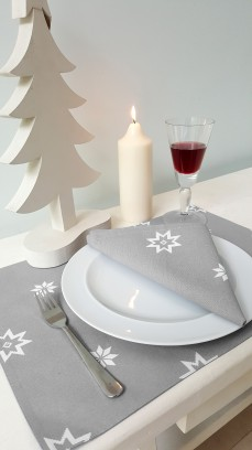 silver grey christmas napkin and placemat