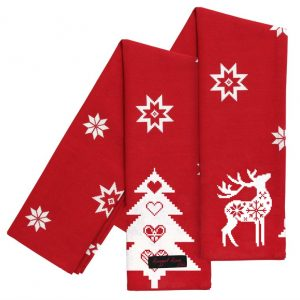 Red Festive Reindeer Tea Towels
