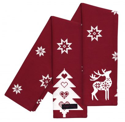 Christmas Red Tracy Tea Towel White Star (Pack of 2)