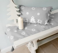 Silver Grey Christmas Star Cushion and Christmas table runner