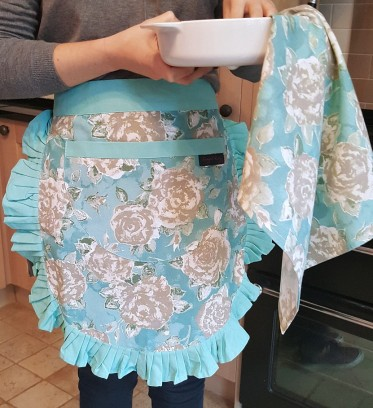 Tilly Duck Egg Blue Vintage Half Apron and Tracy tea towel