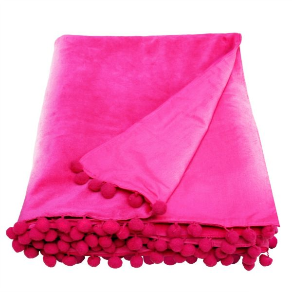 Pink Velvet Throw With Pom Pom Trim
