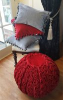 Red and Grey velvet cushions and pouffe